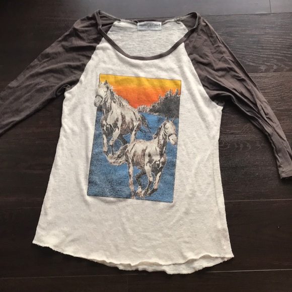 Project Social T Tops - Project Social T vintage style horse b-ball top- S